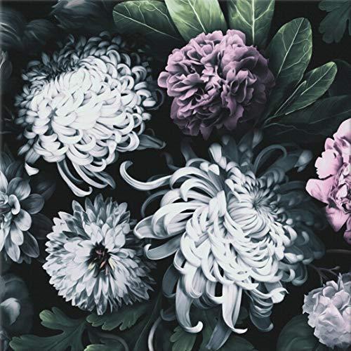 Schöne Design Tapete für Wohnzimmer, Schlafzimmer, Küche und Bad — einfache Handhabung — Premium-Qualitätspapier 100% Made in Italy — 8 Bögen á 70x100cm (5,5 m2) — Dunkle Blumen