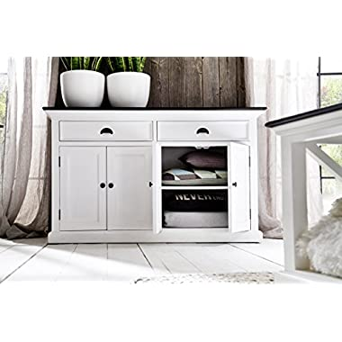 NovaSolo Halifax Contrast Pure White Mahogany Wood Sideboard Dining Buffet With Storage And 2 Drawers