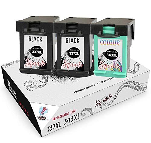 Squuido 3 Remanufactured Cartuchos de Tinta 337 343 compatibles con HP OfficeJet 100 150 Mobile Deskjet 6940 6980 5940 OfficeJet H470 H470b K7100 Photosmart D5160 C4180 | Alto Rendimiento