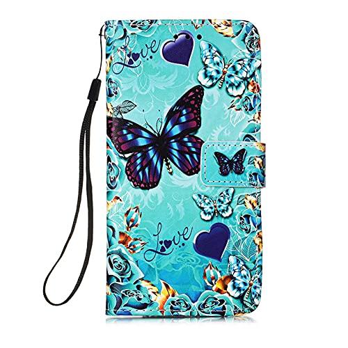 HopMore für Samsung Galaxy A12 / Galaxy M12 Lederhülle, Handyhülle Samsung A12 Hülle Flip Hülle Muster Schutzhülle Ledertasche Silikon Cover Stoßfest Tasche Leder Wallet - Schmetterling