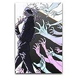 Japón Gojou Waving Jujutsu Kaise Póster de lienzo para pared, lienzo artístico, impresión moderna, decoración de pared, panel sin marco, para sala de estar, dormitorio, pasillo, pasillo, pasillo, etc.