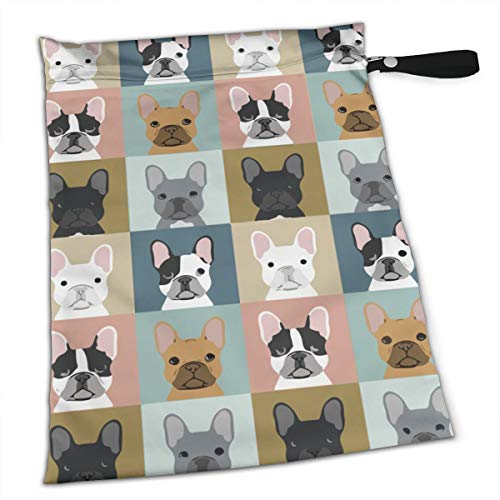 French Bulldog Pattern Wet Dry Cloth Diaper Bags - Baby Waterproof Washable Reusable Hanging Diaper Organizer