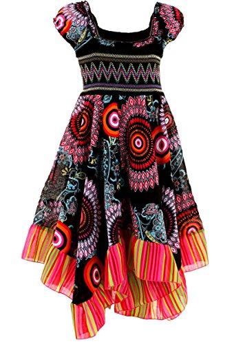 GILLSONZ Neu602vDa Mädchen Kinder Sommer Freizeit Kleid (146/152, Schwarz)