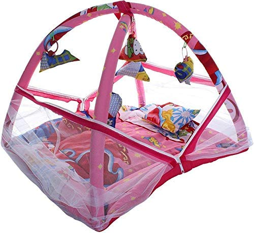 JEEYA Decor™ Baby Bedding Set with Mosquito Net Newborn Play Activity Gym with Hanging Toys Sleeping Bed for New Born Babies, Polycotton, 0-12 Months (78 * 63 * 58 cm, Pink)
