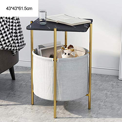 Metal Shelf Modern Vintage,Small Square Table, Nordic Sofa Side Table, Fabric Organizer, Simple Wrought Iron Balcony Coffee Table, Small Apartment Bedside Table-Black Textured Surface + Gold Frame