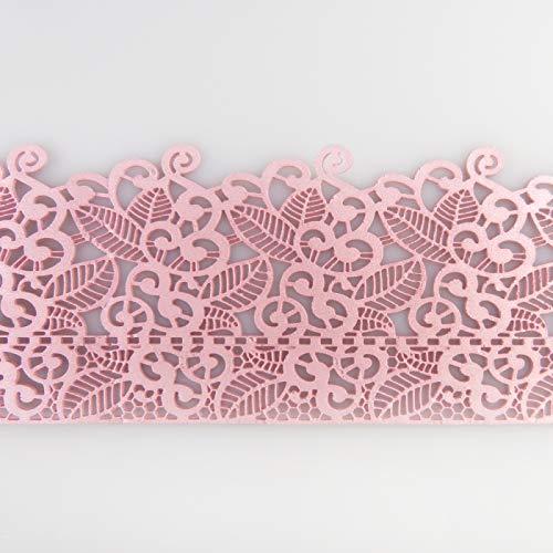 Coximus gebrauchsfertige essbare Spitze für filigrane Spitzen-Deko von Torten | 38 x 8 cm fertige Zucker-Spitze mit Blüten & Blätter in der Farbe Rosa | fertiges Icing zum Gebrauch | Sweet Lace