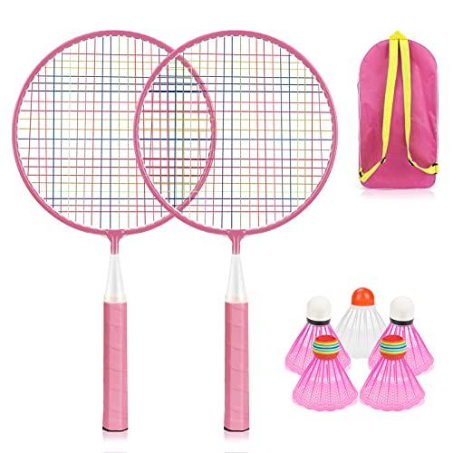 Wikay Badminton-Set für Kinder, Tragbar Badminton Racket Spielzeug 7 in 1 Kinder Schläger Set für Kinder-Profis Anfänger-Spieler Eltern-Kind-Sportspiele, Inklusive Tragetasche (Rosa)