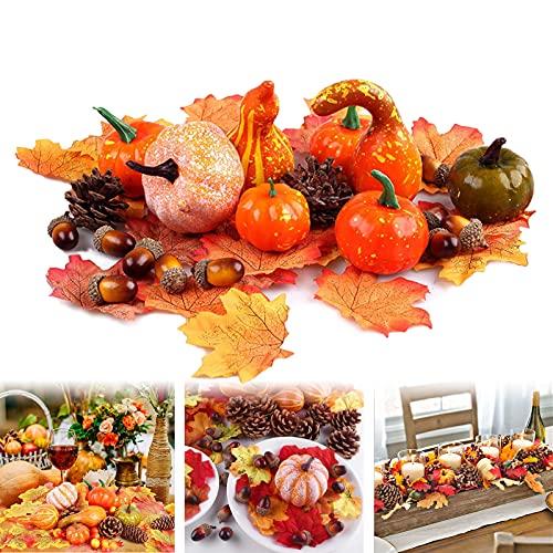 50 Pezzi Halloween Zucche Artificiali Set di Decorazioni Autunnali Mini Zucca Artificiale Pigne Ghiande Foglia D'Acero Autunno Decorazione Set per la Decorazione Della Festa Domestica
