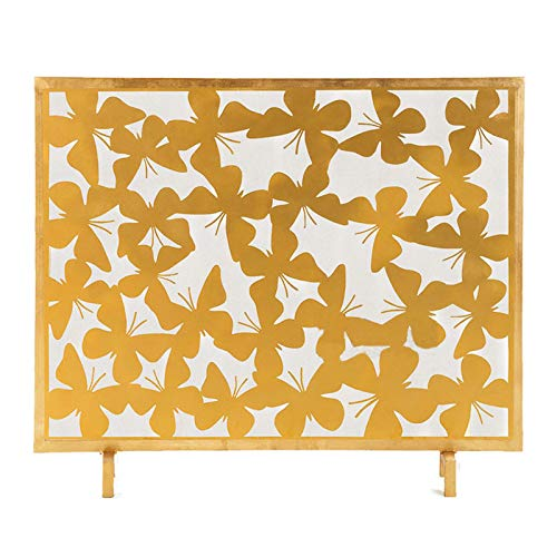 Spark Guard Elegant Golden Metal Fireplace Screen with Hollow Wrought Iron Butterfly Carving Single Panel Fireplace Screen Decorative Fireplace Screen Spark Guard,38.6'×7.9'×32.3' Spark Protection