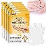 5 pares de guantes hidratantes para manos, mascarilla renovadora para reparación de la piel de las manos con colágeno infundido, mascarilla para manos secas, envejecidas y agrietadas (miel y leche)