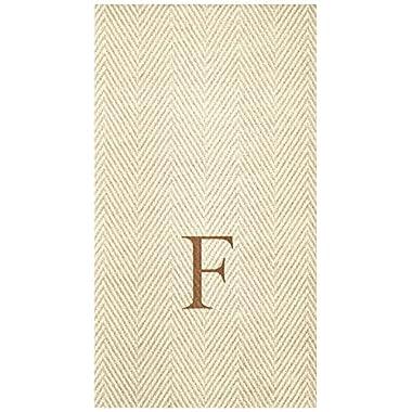 Entertaining with Caspari Jute Herringbone Paper Linen Guest Towels, Monogram Initial F, Pack of 24