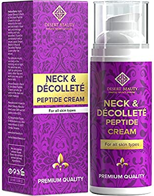 Neck Firming Cream, Anti-Aging Moisturizer for the Neck and Décolleté (3.38 oz / 100ml Large Bottle) | Advanced Stem Cell + Collagen Formula For Tightening & Lifting Sagging Skin | by Desert Beauty