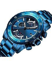 腕時計 メンズ腕時計 ブルー ファッションビジネス 多機能 カジュアル クロノグラフ ステンレス 鋼 日付表示 防水 クォーツアナログ表示 時計