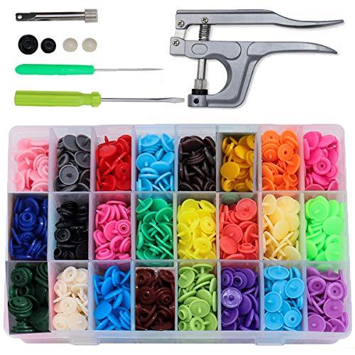 Bouton Pressions Plastiques,Pression Kit de Pince en Métal Pince (T3, T5, T8) pour Bricolage, Tous Vêtements, Accessoires 360 Set T5 Buttons 12mm 24 Coloris(avec de Outils)