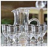 Kleine Mini 15 ml einzigartige Mini Wein Schnapsgläser Sake-Glas Set Spirituosen Becher Klar Alkohol Mini Schnapsglas mit Stiel Kleine Trinken (Set von 6+1)