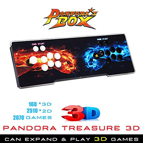 Elikliv 2670 Game in 1 3D Video Games Double Stick Arcade Console Pandoras Box Classic W/ 160 Kind 3D Games 2510 Kind 2D Games for 4 Player