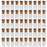 Mini Tiny Clear Glass Jars Bottles with Cork Stoppers for Arts & Crafts, Projects, Decoration, Party Favors - Size: 18mm x 10mm Diameter (50 Pack)