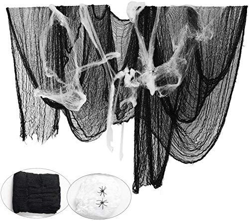 Paño Negro de Halloween, Bst4U Fantasma Festival Halloween Gasa PoliéSter AlgodóN Rejilla Grande DecoracióN 84.65 * 196.85 Pulgadas+2 PCS ArañA AlgodóN+4 PCS ArañA (Negro)