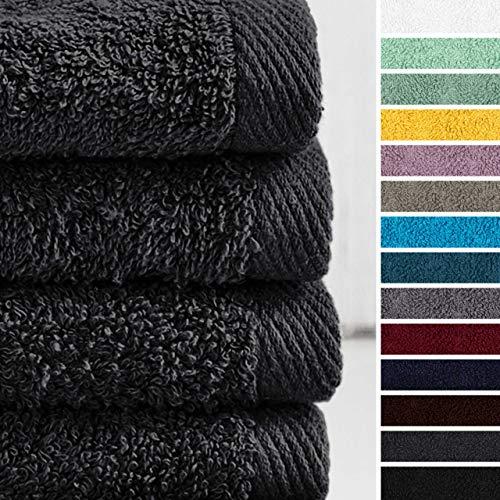 Lumaland Premium 4er Set Handtücher 50 x 100 cm aus 100% Baumwolle 500 g/m² mit Aufhänger anthrazit