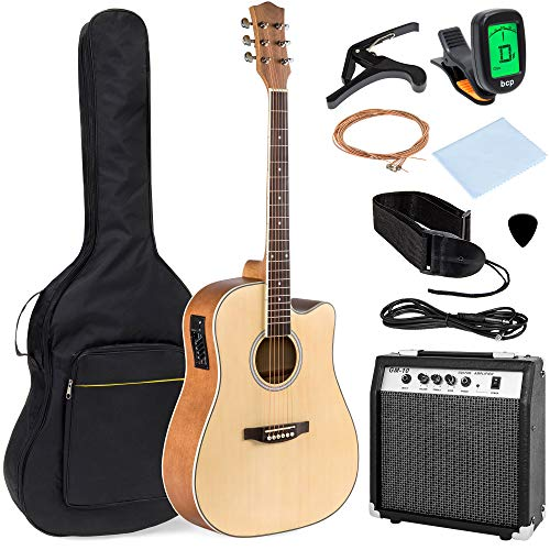 Best Choice Products 41in Full Size Acoustic Electric Cutaway Guitar Set w/ 10-Watt Amplifier, Capo, E-Tuner, Gig Bag, Strap, Picks (Natural)