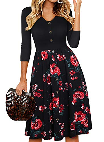 YATHON Women Dresses for Church Elegant Black Floral Print V-Neck Fall Pleated Button Down Wedding Guest Swing A-Line Office Work Dress for Women Casual Party (L, YT035-Black Flo 02-3/4)