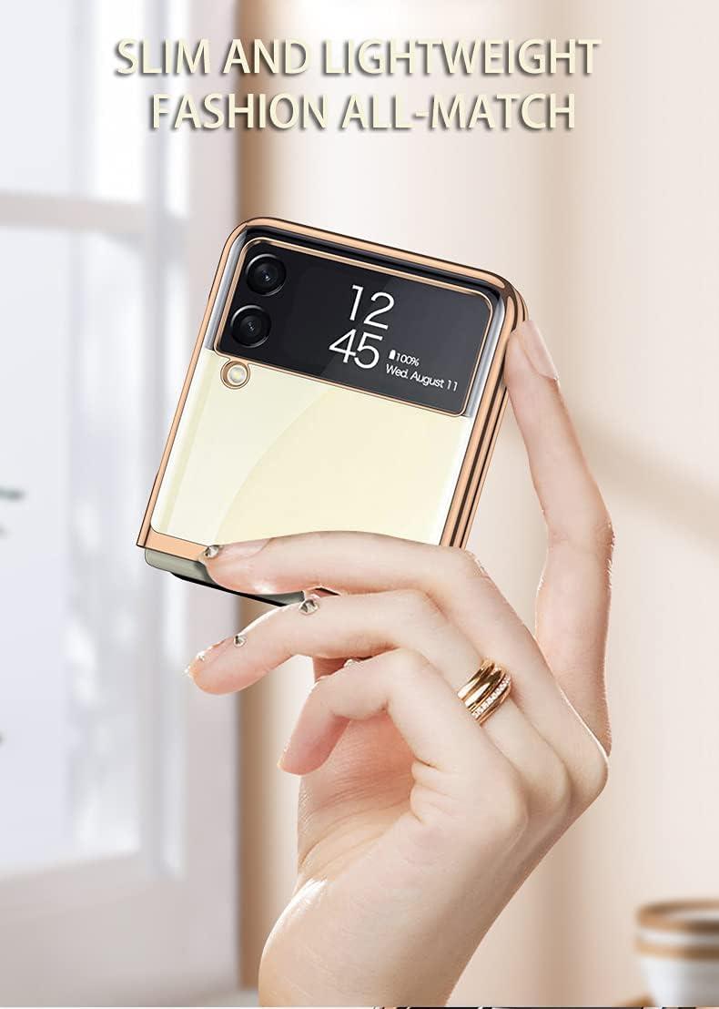 Case for Samsung Galaxy Z Flip 3 5G Phone Case Cover, Crystal Hard PC Bumper Galaxy Z Flip3 5G Crystal Case, Shockproof Anti-Scratch Transparent Covers for Galaxy Z Flip 3 5G, Mist Gold