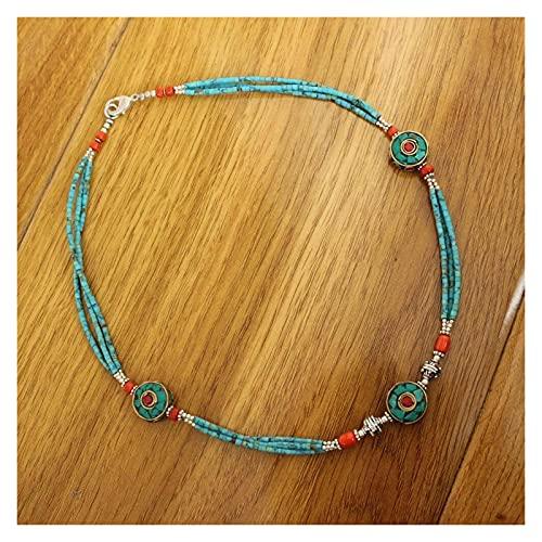 JUSTPING Collar Hecho a Mano étnico Tibetano 3 Grandes Cuentas Redondas Mini Collar Damas (Metal Color : Necklace)