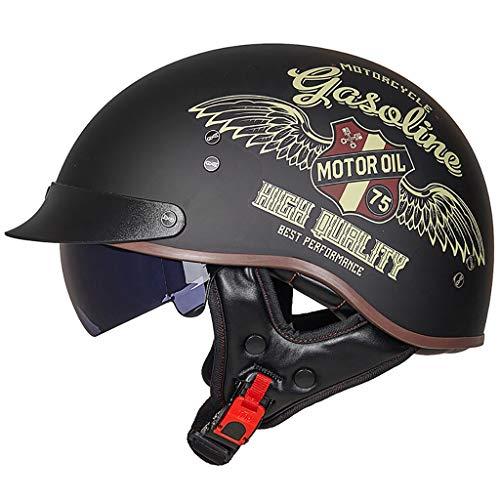 GAOZH retrò Casco Scodella,Harley Mezzo Casco Portatile,Certificazione ECE,con Visiera UV Occhiali,Vintage Stile Bici Caschi Cromwell, Scooter Moto Classic Jet Aperto Caschi