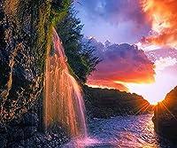 油絵 数字キットによる絵画 塗り絵 手塗り 滝の風景- DIY絵 デジタル油絵-40x50cm (diyの木製フレーム)