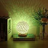 YanFeng Lampada a sfera sferica, lampada da tavolo Lampada piccola Lampada da tavolo a sfera in rattan Alimentata tramite USB con paralume lavorato a mano per camera da letto, compleanno, regalo