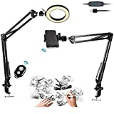 Phone Ring Light, Overhead Video Mount with Remote Control and 2 Arm Stands for iPhone,Samsung,Sketch,Craft,Calligraphy,Drawing,Online Course,Video Recording