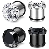 JOERICA 2 Pairs Stainless Steel Ear Gauges CZ Screw Plugs Tunnel Ear Expander Stretcher Piercing 10mm