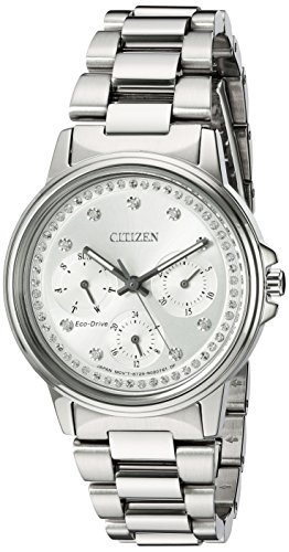 Citizen Women's Eco-Drive-Silhouette Japanese-Quartz Watch with Stainless-Steel Strap, Silver, 20 (Model: FD2040-57A)