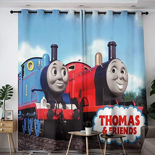 Elliot Dorothy Thomas y sus amigos de dibujos animados lindo programa de televisión cortinas lavables con ojales, oscurecimiento de la habitación cortinas anchas para niños niñas habitación W42 x L63