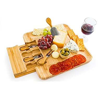 100% Natural Bamboo Cheese Board with Cutlery Set, Charcuterie Platter and Serving Meat Board with Slide-out Drawer with 4 Stainless Steel/Bamboo Knives Server Set. Perfect for Entertaining and Gifts