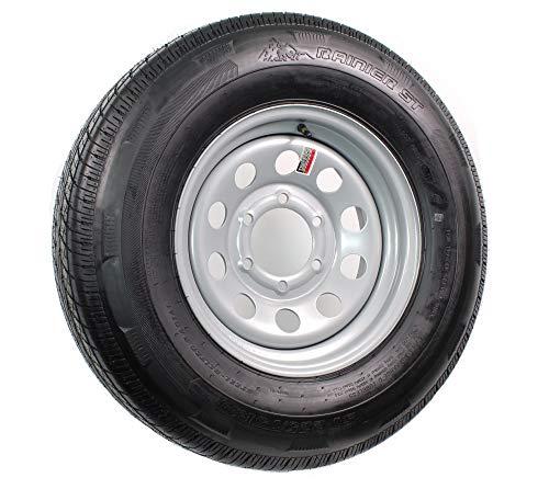 Radial Trailer Tire On Rim ST225/75R15 225/75-15 15 D 6 Lug Wheel Silver Modular