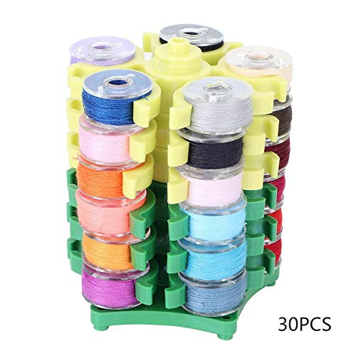 Fdit 30PCS Color Embroidery Sewing Machine Bobbins Tower Storage Rack Stand Rotatory Collection Shelf Collecting Clip Holder Organizer