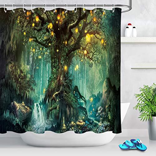 LB Duschvorhang Zauberwald 240x175cm Grüner magischer Baum Bad Vorhang mit Haken Extra Breit Polyester Wasserdicht Antischimmel Badezimmer Gardinen
