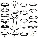 Aceshop Set de 22 Gargantillas Negras Set de Collares Góticos Ajustable Elegante Juego de choquers Clásicas de Cinta en Capas Gargantillas de Terciopelo Negras para Mujeres, Adolescentes, Niñas