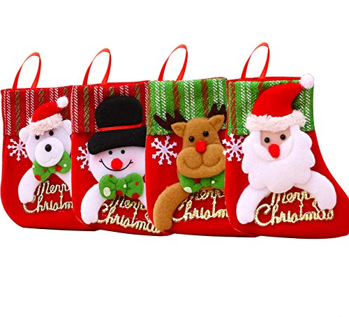 LogHog 4 Pcs Mini Christmas Socks Hanging Decoration, 3D Character Plush Snowman, Reindeer, Bear, Santa Gift Socks Accessories for Xmas Tree Party Decorations(Christmas Letters)