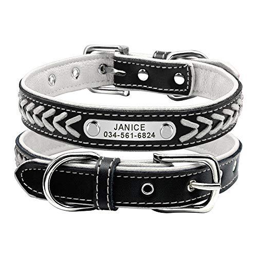 Collar de perro de cuero personalizado Collares de perro plateados con nombre trenzado para perros pequeños, medianos y grandes, etiquetas de identificación para mascotas grabadas personalizada