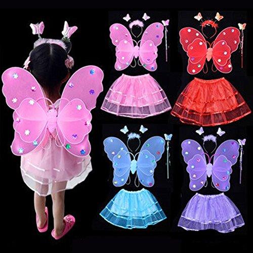 CDKJ LED Lumineuse Papillon LED Lampe Clignotante Rosy Fée Aile de Papillon Baguette Magique Bandeau Jouet éducatif 42 * 39 * 50CM Rose