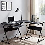 L Shaped Computer Desk with Keyboard Tray, Wood Reversible Corner Desk, L- Shaped Gaming Desk Home Office PC Study Table Workstation Wooden Black Round Corner Desk for Space-Saving, Easy Assembly