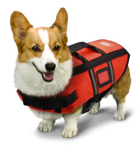 AKC Pet Life Jacket with Reflective Stripes, Lift Handle & Storage Bag, Extra Small, Orange