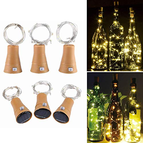 Toifucos Solar Wine Bottle Lights, 6 Pack 20 LED Waterproof Copper Cork Shaped Lights Firefly String Lights for DIY Wedding Party Outdoor, Holiday, Garden, Patio Pathway Decor, Warm White