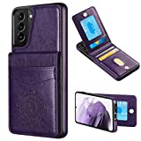 WESADN Compatible with Galaxy S21 6.2-Inch 5G Leather Wallet Case Card Holder Kickstand Function Slim Protective Shockproof Credit Card Slot Cover for Women for Galaxy S21, Purple