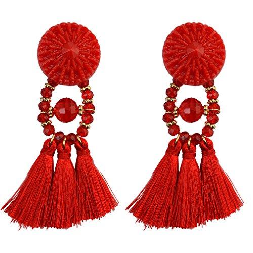 YAZILIND Frauen Stud Drop Baumeln Ohrringe Quasten Perlen Retro Ethnic Tribal Vintage Boho Ohr Aussage Schmuck Handgemachte Rot