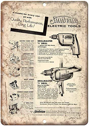 Sunbeam Electric Tools Drillmaster Blechschild Retro Blech Metall Schilder Poster Deko Vintage Kunst Türschilder Schild Warnung Hof Garten Cafe Toilette Club Geschenk