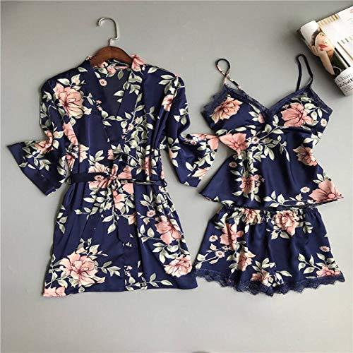 Handaxian Damen Schlafanzug Satin Seide Home Service Lace Gown Brustpolster Pink Weiß 3-teiliges Set Robe Gown Sets44 XXL