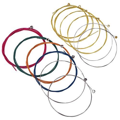 Bememo - 2 juegos de 6 cuerdas de repuesto de acero para guitarra acústica (1 juego amarillo y 1 juego multicolor)